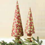 Set of 2 Red and Green Christmas Confetti Handmade Trees