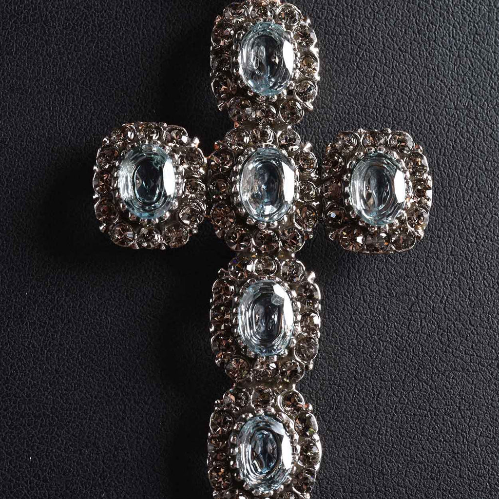 Blue Topaz and European Crystal Cross Pendant