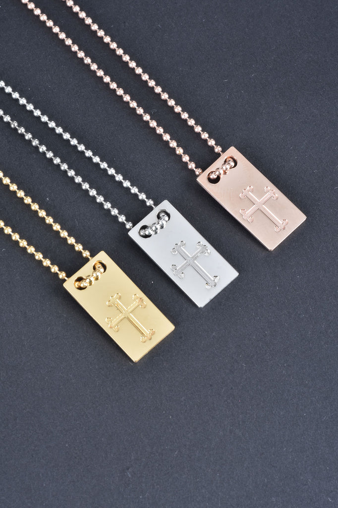Italian Engraved Cross Tag Necklace