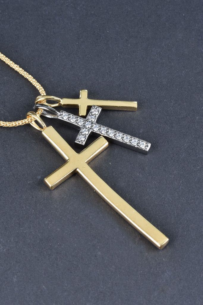 Italian Triple Cross Charms with Yellow Necklace
