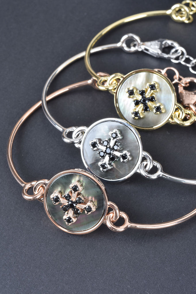 Italian Mother Of Pearl Cross Adjustable Bracelet