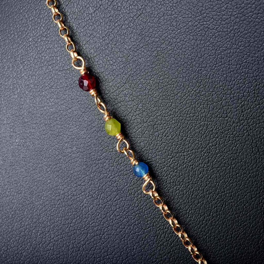Multi Gem Florentine Cross with Chain