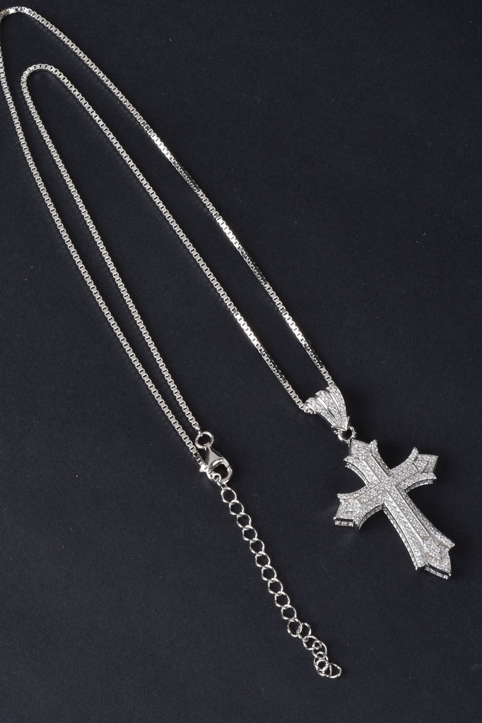 Handmade Micro Pave Flared Cross Pendant with Chain