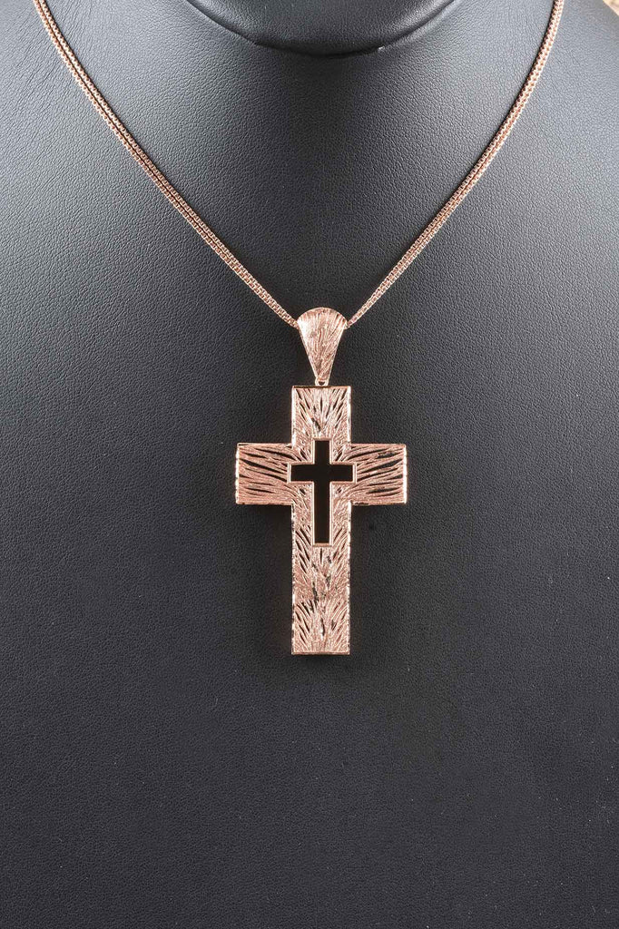 Sunrise Openwork Italian Cross with Leather and Double Chain