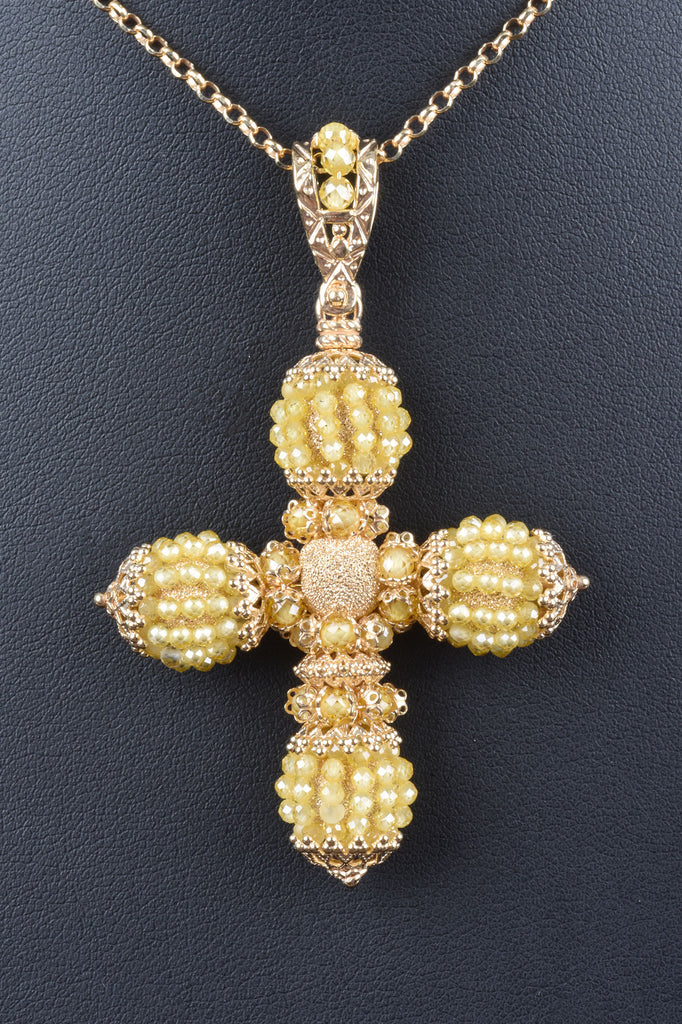 Florentine Gemstone Beaded Cross Pendant