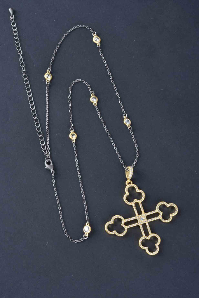Couture Inspired Openwork Pave Cross Pendant