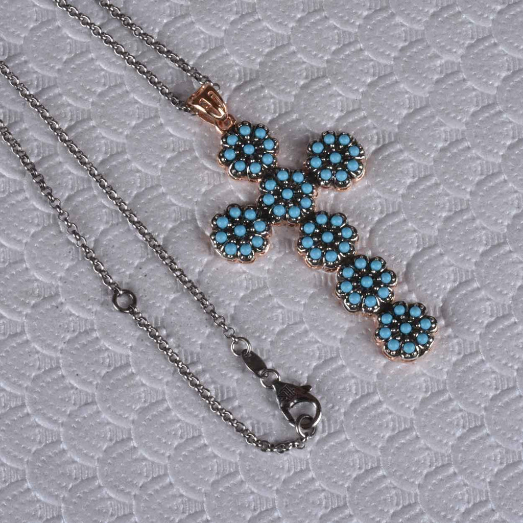 Italian Flower Turquoise Cross Necklace