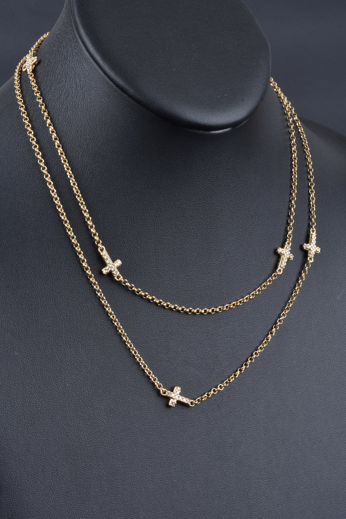 Italian Double Sided Pave Cross Station Necklace