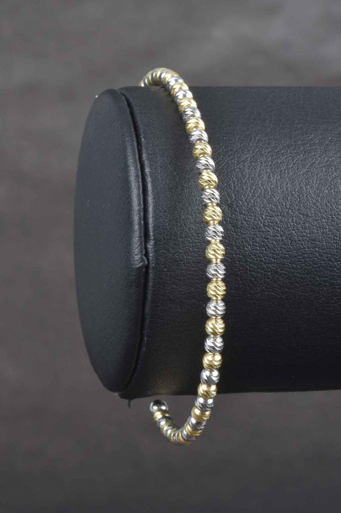 Italian Sparkling Diamond Cut Beaded Cuff