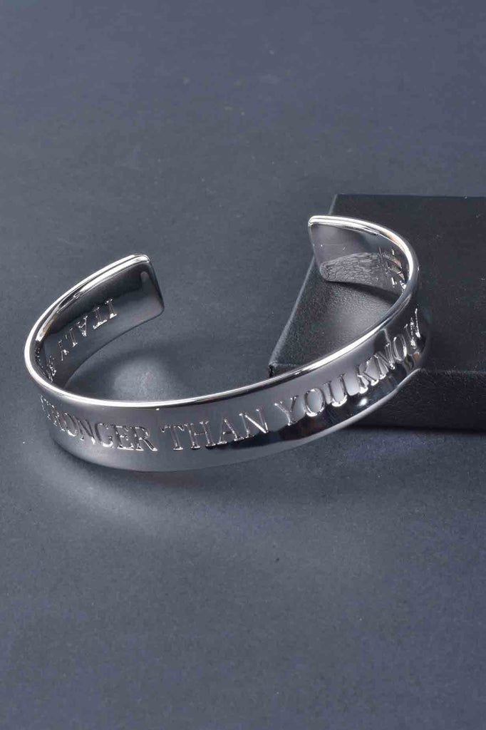 Stronger Than You Know Engraved Cuff