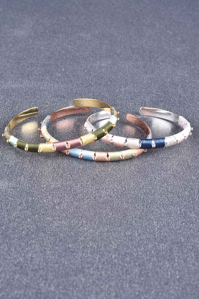 Set of 3 Thread Wrapped Cuff Bracelets