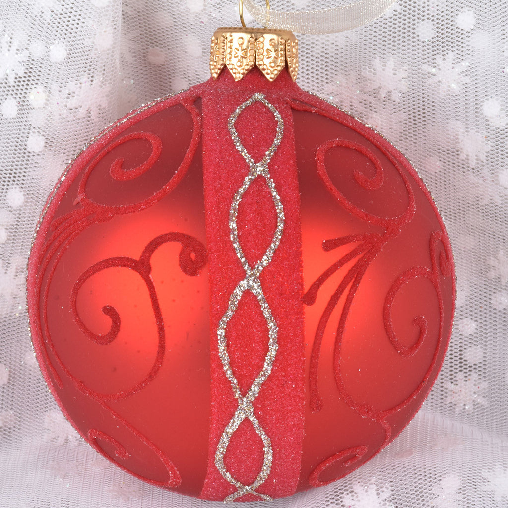 set of 6 fancy flocked european glass ornaments lisa robertson