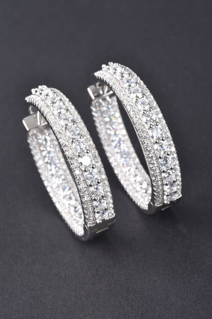 Inside and Out Sparkling Hoop Earrings