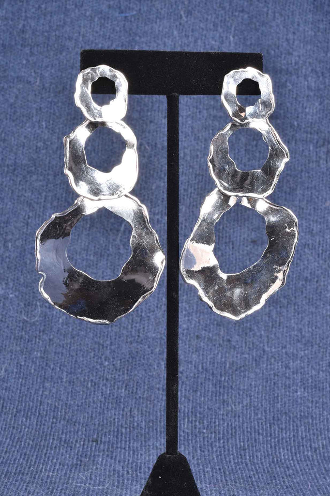 Italian Triple Hammered Dangle Earrings