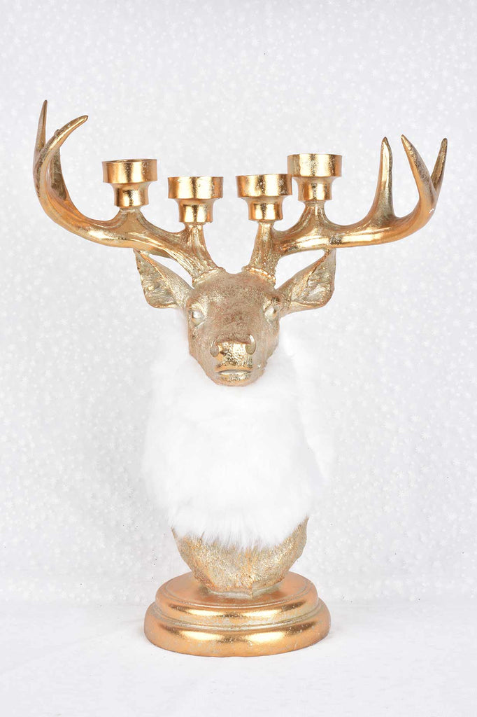 Antique Gold Deer Bust Candleholder