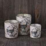 Set of 3 Mercury Glass Deer Votive Holders