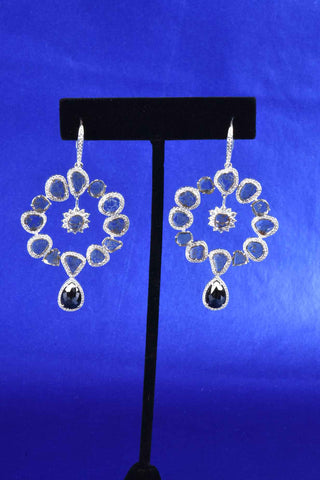 Italian Twisted Diamond Shape Hoop Earrings