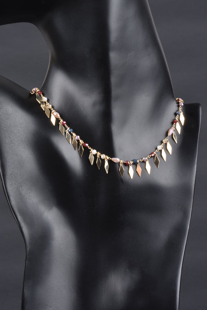 Italian Geometric Fringe Diamond Shape Necklace With Gemstones