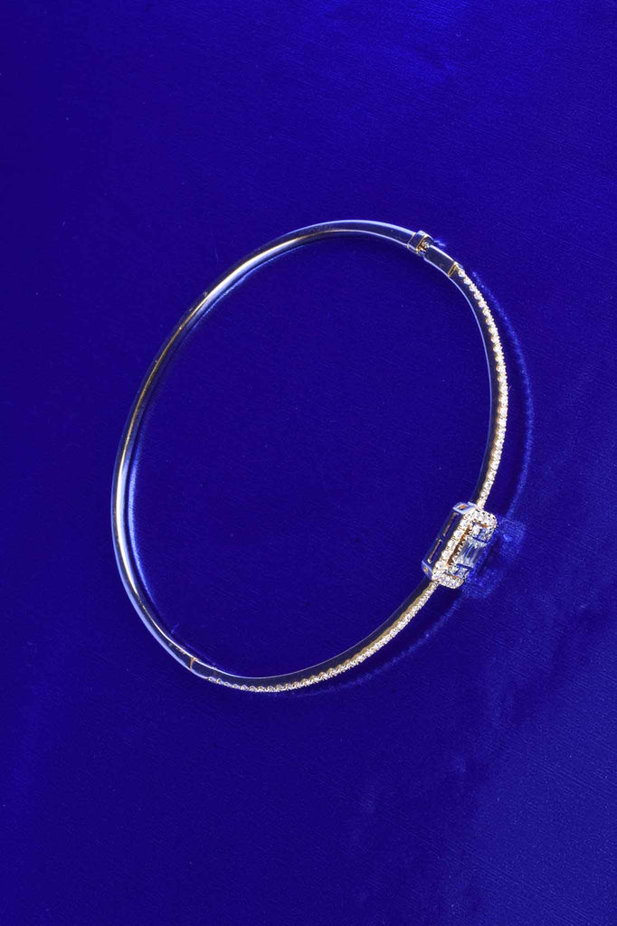 18K Gold Diamond Baguette Station Bangle Bracelet