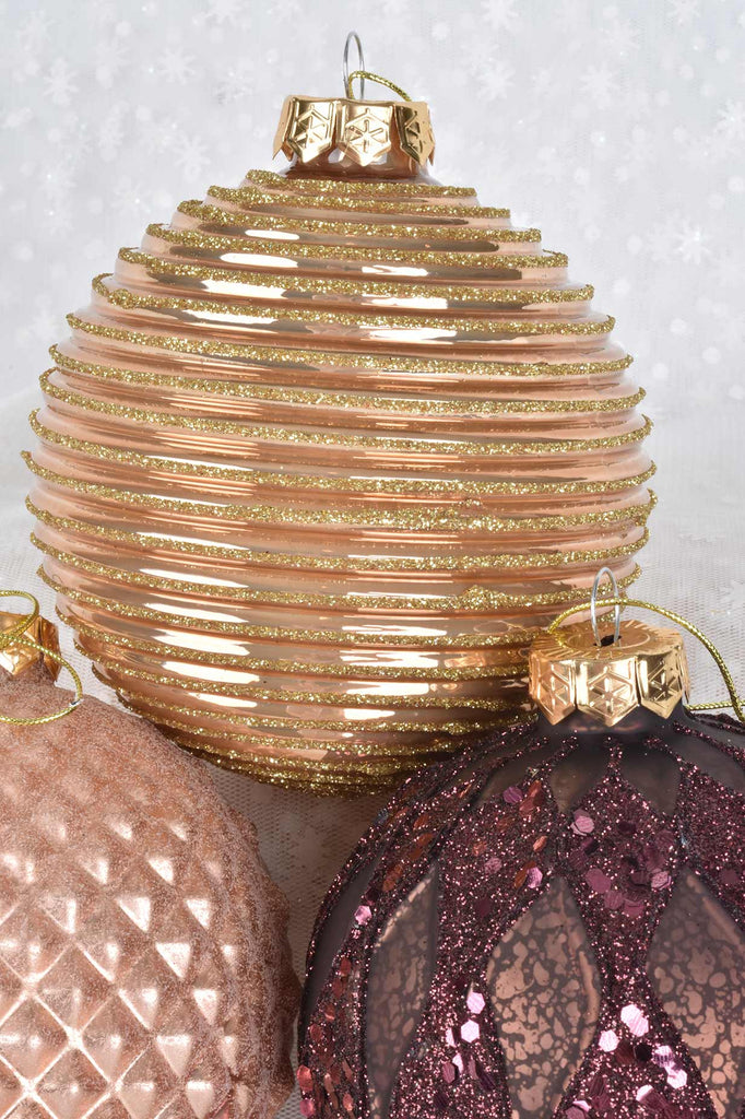 Large Dimensional Chocolate, Bronze, and Rose Glass Ornaments