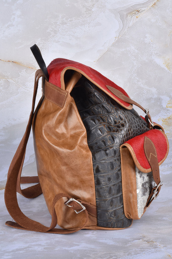 Croco and Haircalf Double Pocket Backpack