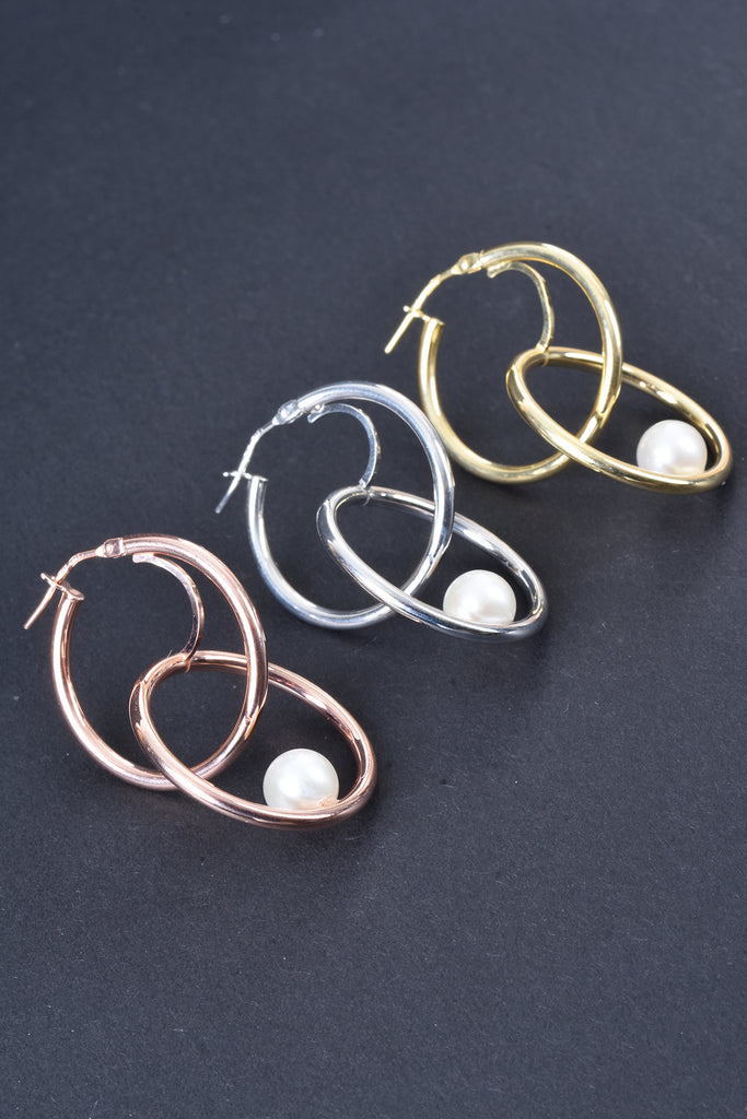 Italian Double Hoop with Suspended Pearl Earrings