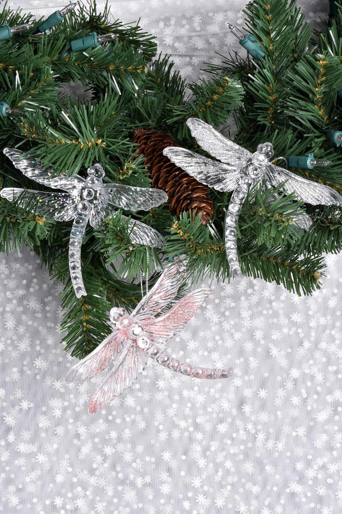 Sparkling Dragonfly Ornaments
