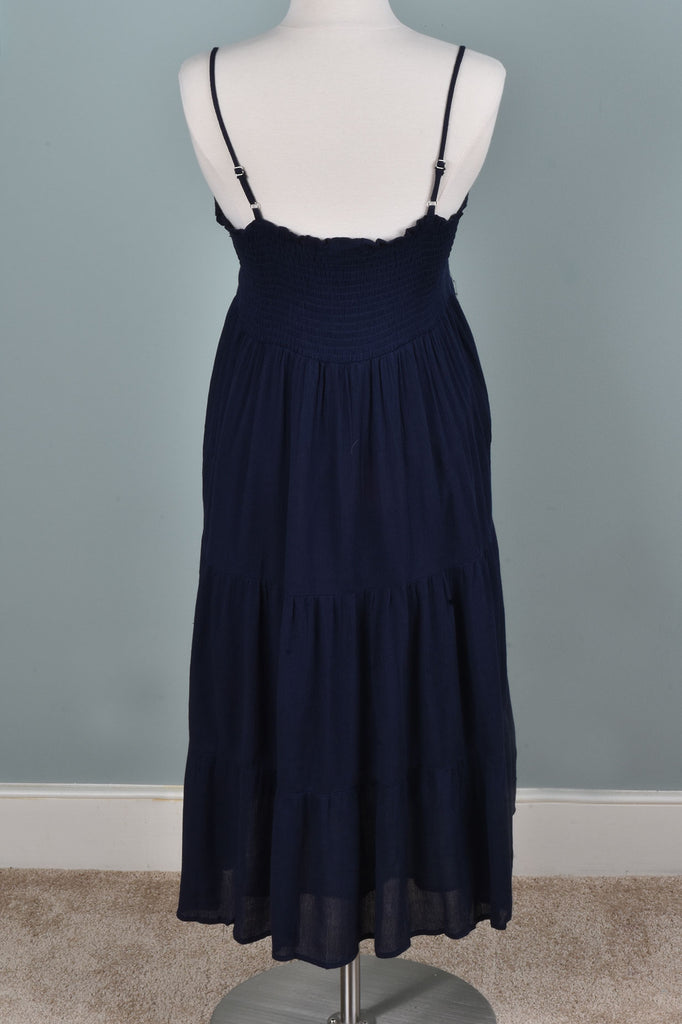 Navy Embroidered Tiered Sundress
