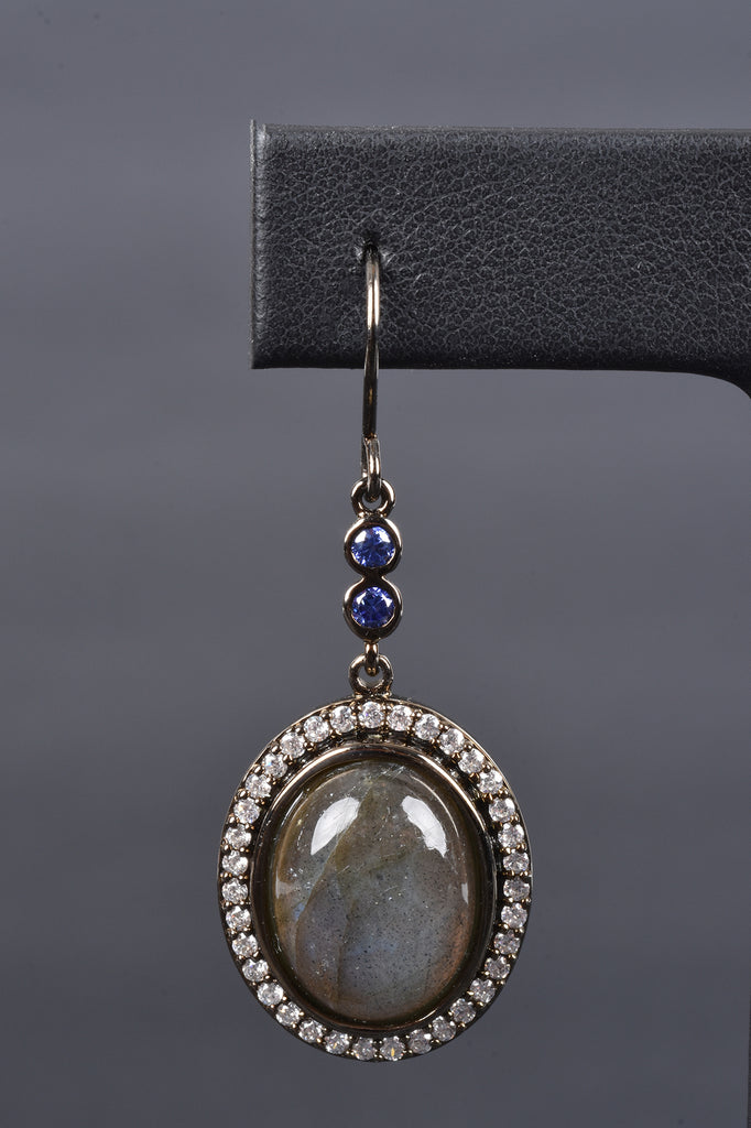 Bold Oval Labradorite Earrings with Pave Halo
