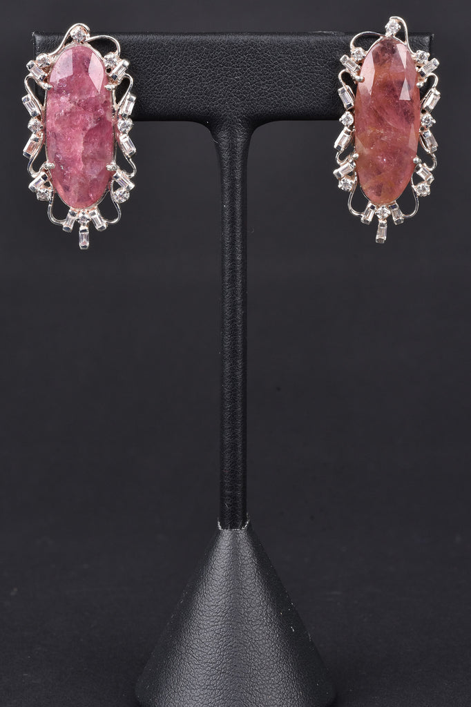 Scroll Design Pink Tourmaline Earrings