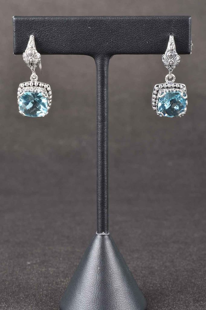 Handmade Bali Silver Fancy Cut Blue Topaz Earrings
