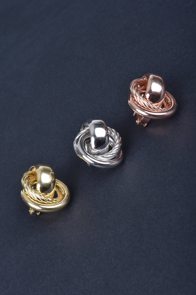 Italian Love Knot Button Earrings with Omega Backs