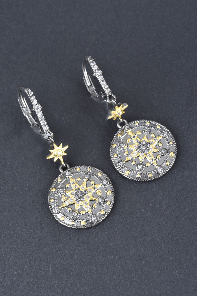 Handmade Couture Inspired Black and Gold Starburst Earrings