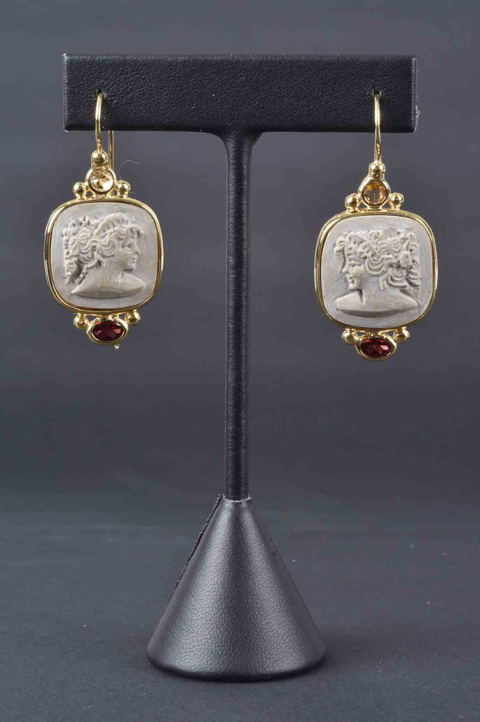 Lava From Pompeii Carved Lady Earrings