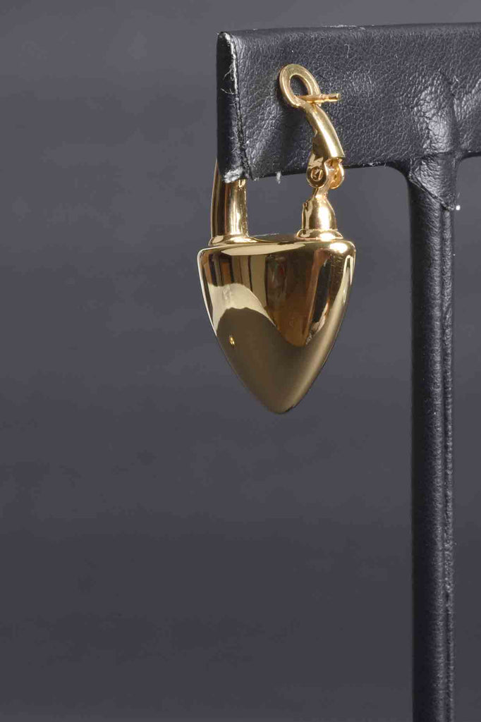 Italian Padlock Heart Status Omega Back Hoop Earrings