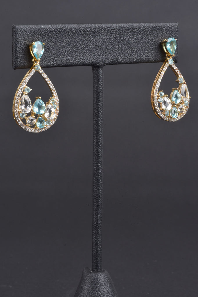 Apatite and White Topaz Teardrop Earrings