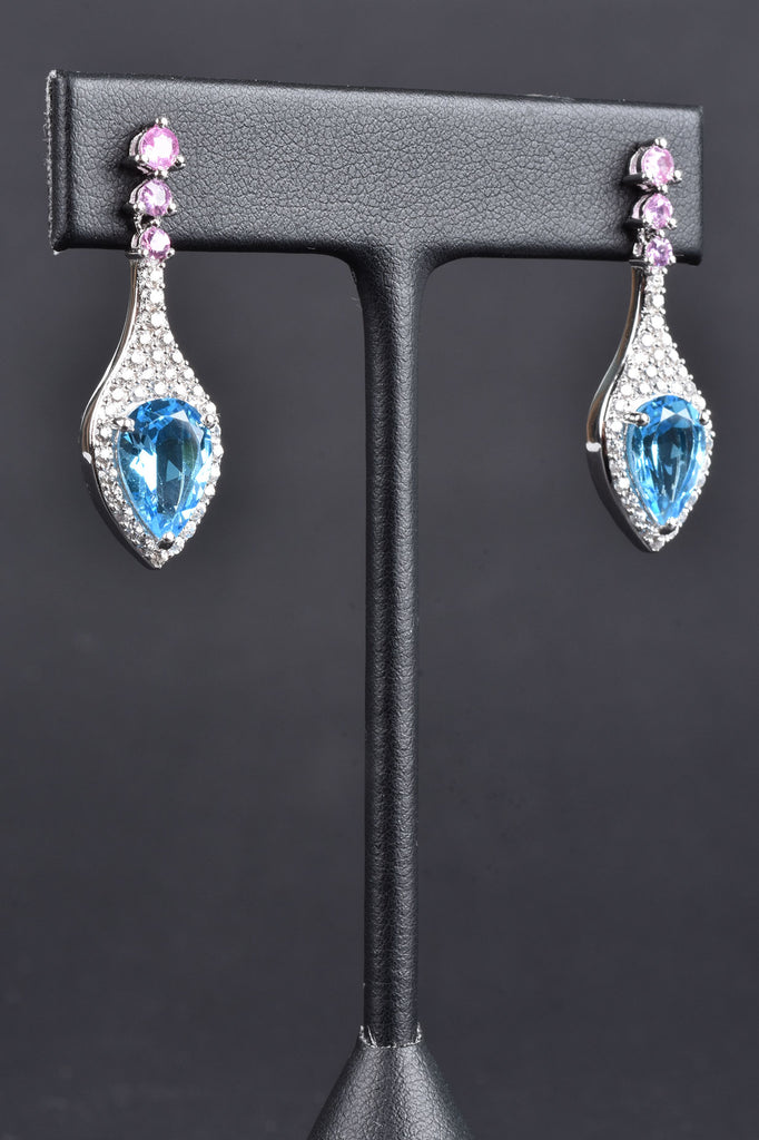 Swiss Blue Topaz and Pink Sapphire Earrings