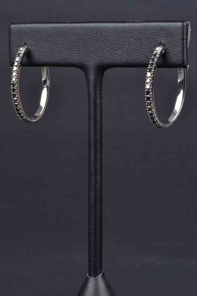 Choice of White, Black and Champagne Diamond Hoop Earrings