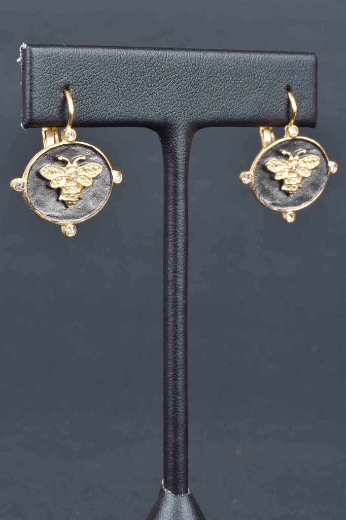 Couture Inspired Bumble Bee Lever Back Earrings
