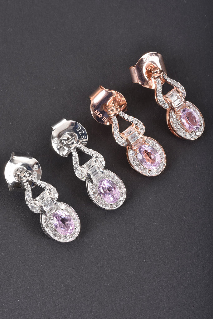 Kunzite and White Zircon Exotic Drop Earrings