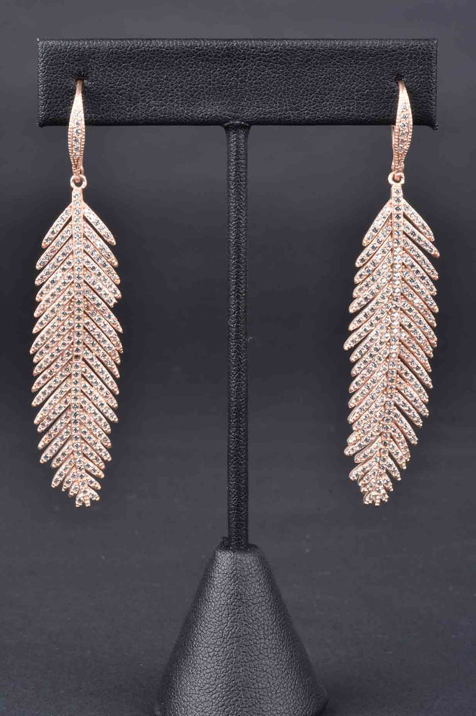 Couture Inspired Pave Feather Lever Back Earrings