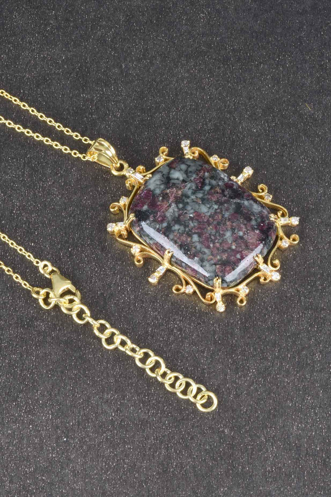 Handmade Rectangular Eudialyte and Diamond Necklace