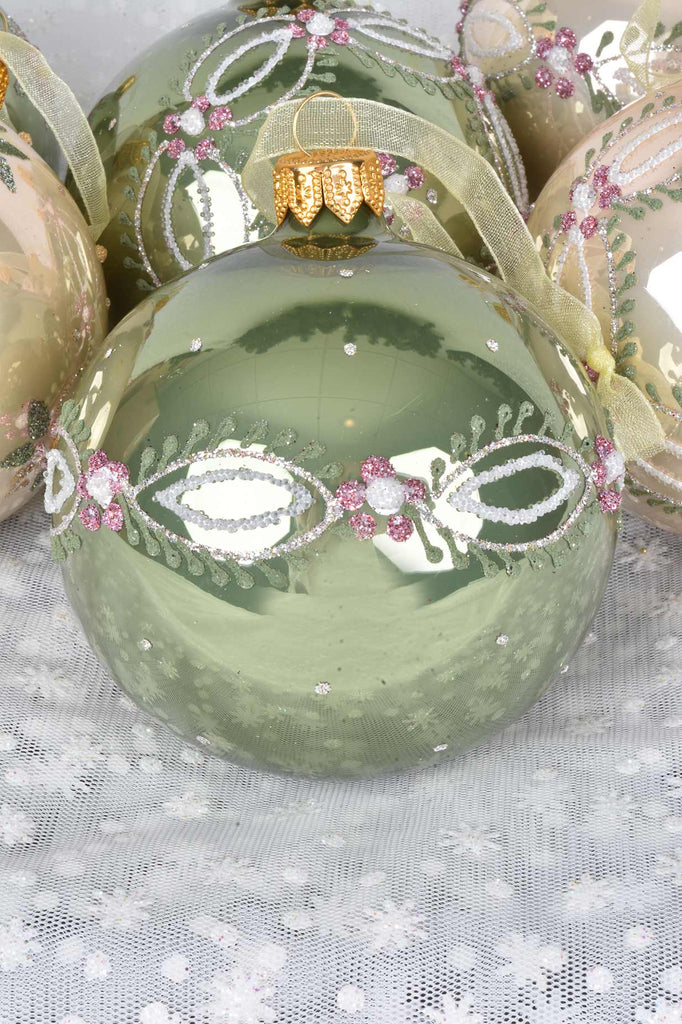 Sage and Pearl Delicate Flowers European Glass Ornaments