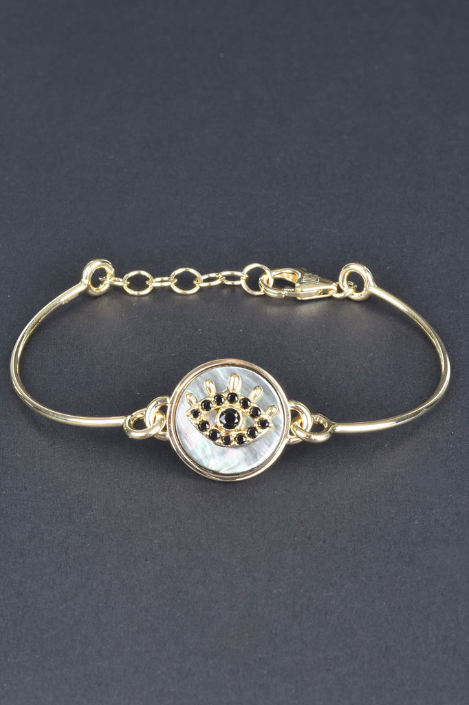 Italian Mother Of Pearl Evil Eye Adjustable Bracelet