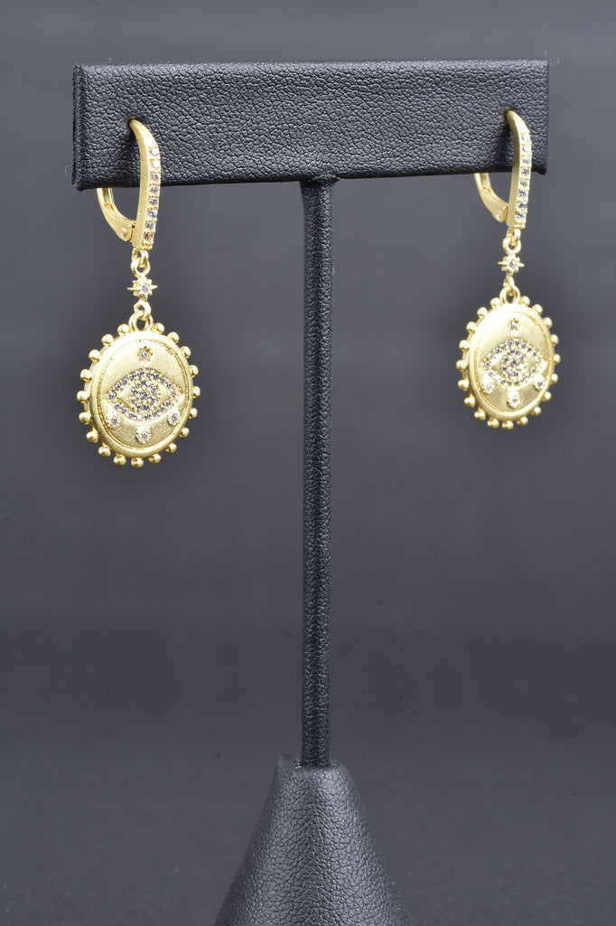 Handmade Couture Inspired Evil Eye Lever Back Earrings