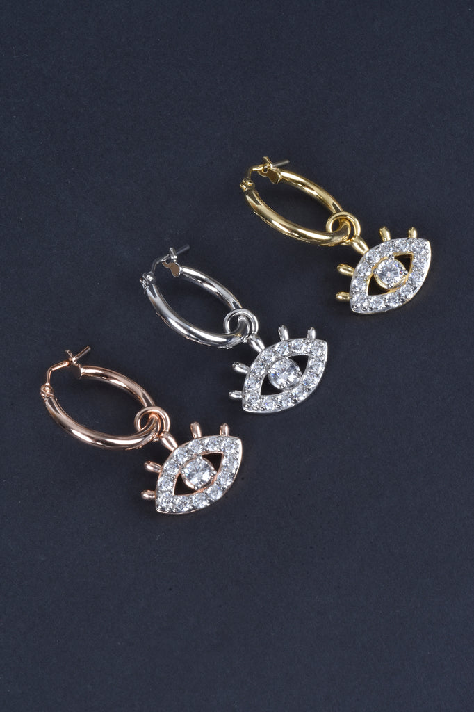 Italian Hoop Earrings with Evil Eye Charms