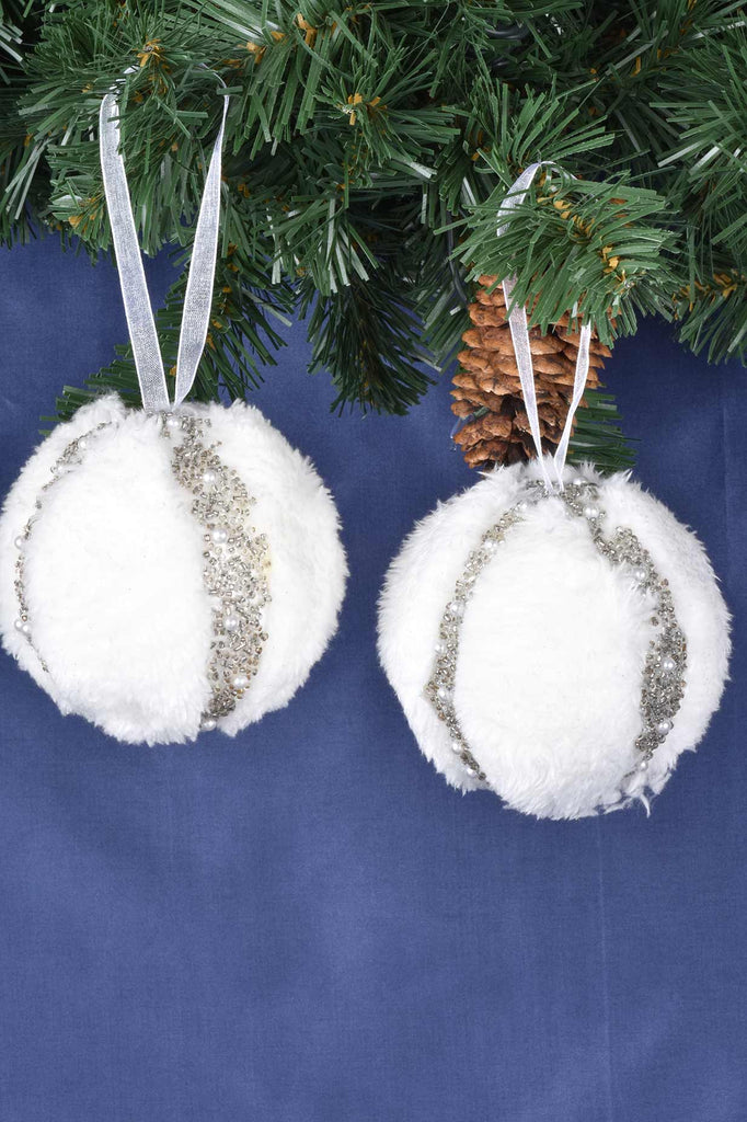 Winter White Faux Fur with Pearls Shatterproof Ornaments