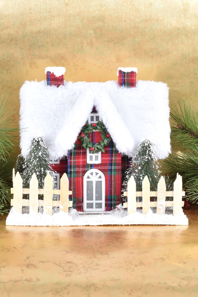 Faux Fur Trimmed Lighted Christmas House