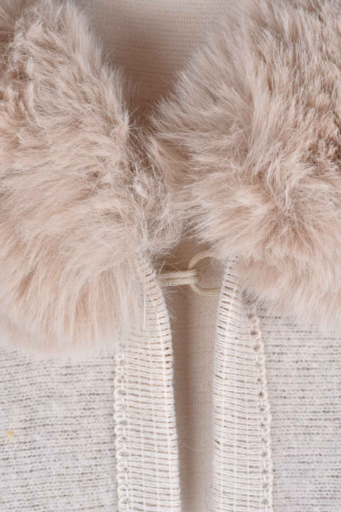 Faux Fur Trim Hooded Wrap