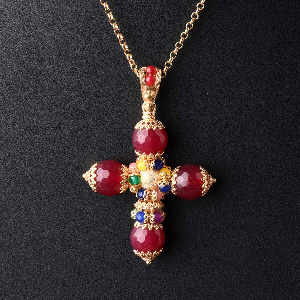 Gemstone Florentine Cross with Chain